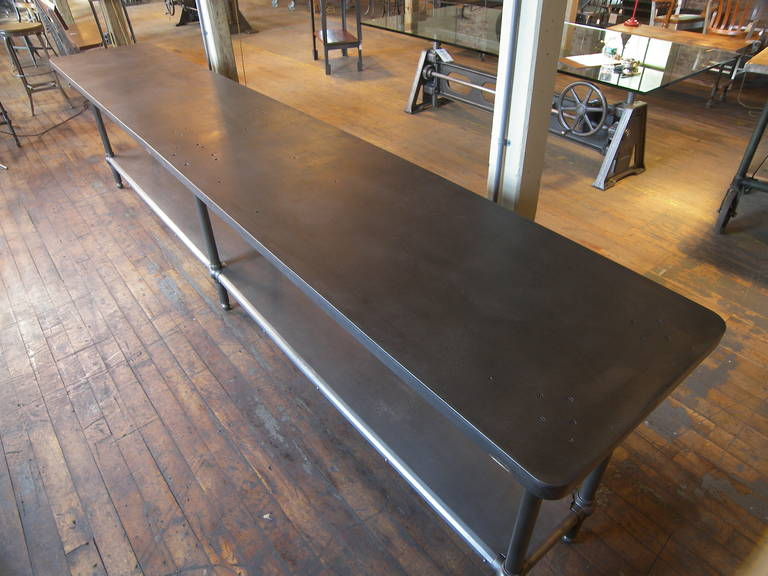 12' Ball Joint & Steel Industrial Console Table For Sale 3