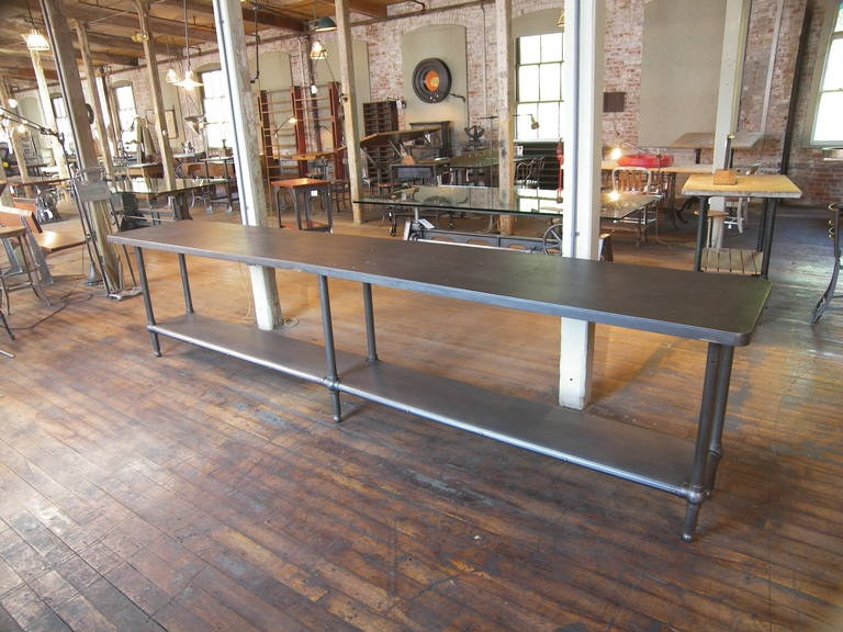12' Ball Joint & Steel Industrial Console Table For Sale 4