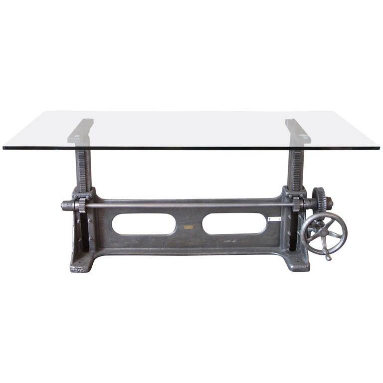 Vintage Industrial Cast Iron Adjustable Table Base At 1stdibs