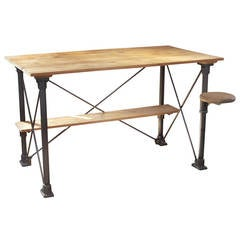 Vintage Industrial Wood and Steel Table with Seat