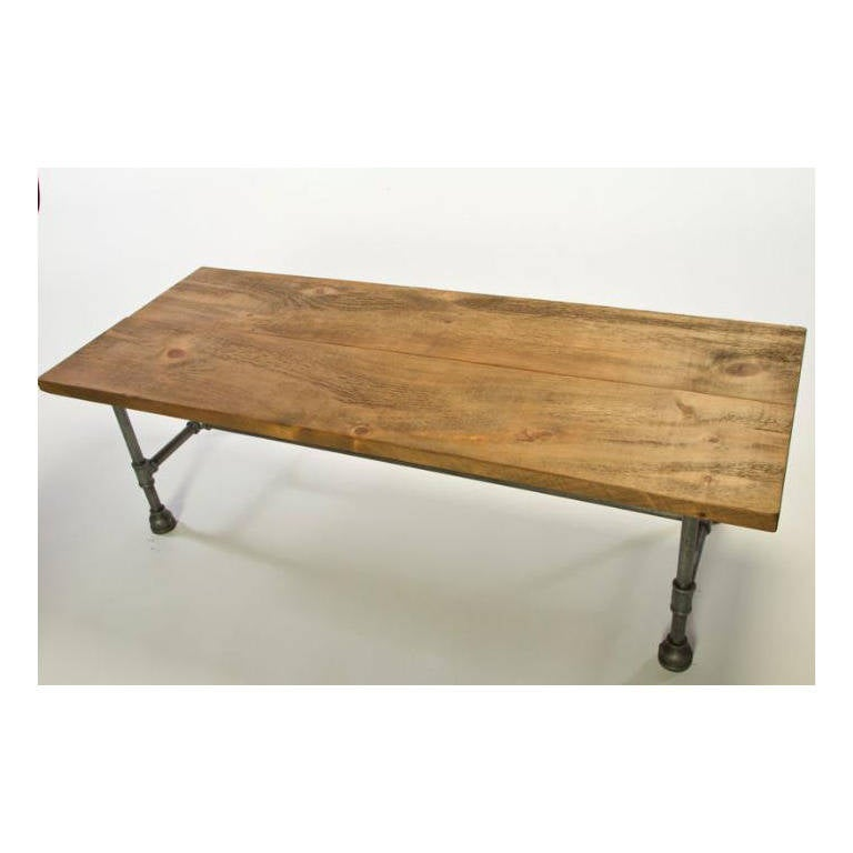 Vintage Industrial Rustic Wood Steel And Cast Iron Coffee Console Low Table For Sale At 1stdibs