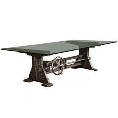 Dining Table Vintage Industrial Cast Iron Glass Adjustable Conference Desk Base