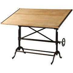 Drafting Table with Cast Iron Base, Vintage Industrial & Original