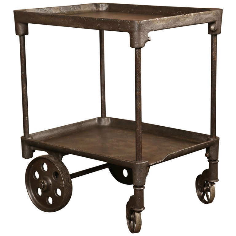 Two Tier Cast Iron Rolling Bar Cart Table At 1stdibs