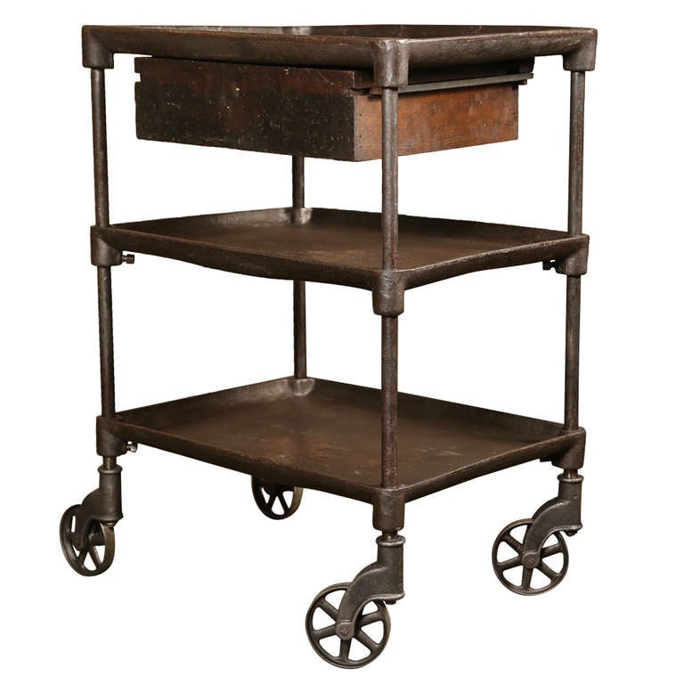 Vintage industrial three tier table cart at 1stdibs for Lift furniture to second floor