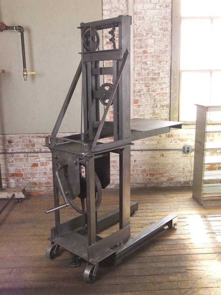 Vintage industrial steel manual machine age factory die for Vintage crank table