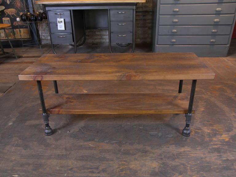 Custom Vintage Industrial Rustic Wood Steel And Cast Iron