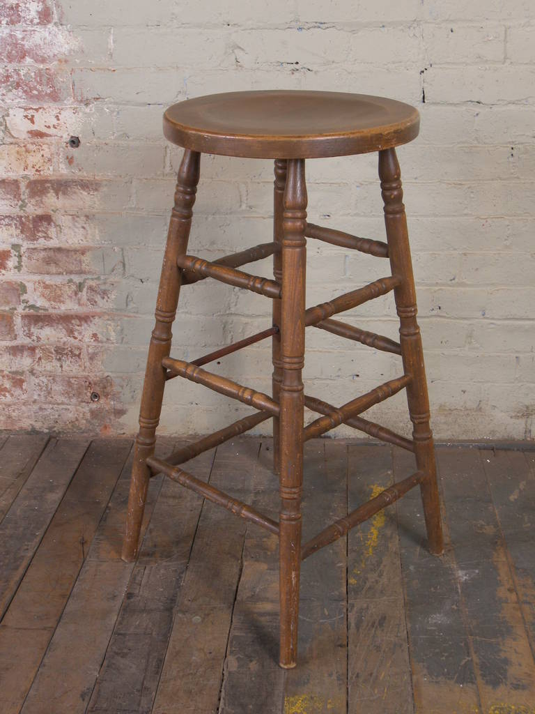 Vintage wooden bar stool for sale at stdibs