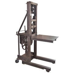 Vintage Industrial Steel Manual Machine Age Factory Die Lift, Crank Table Cart