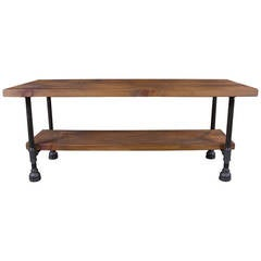 Custom Vintage Industrial Rustic Wood Steel and Cast Iron Side - Coffee Table