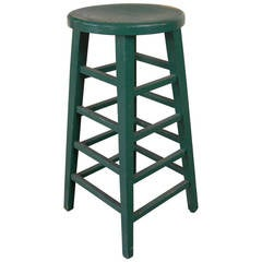 Vintage Green Wooden Stool