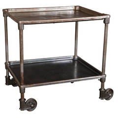 Vintage Industrial Cast Iron and Steel Rolling Factory Serving Bar