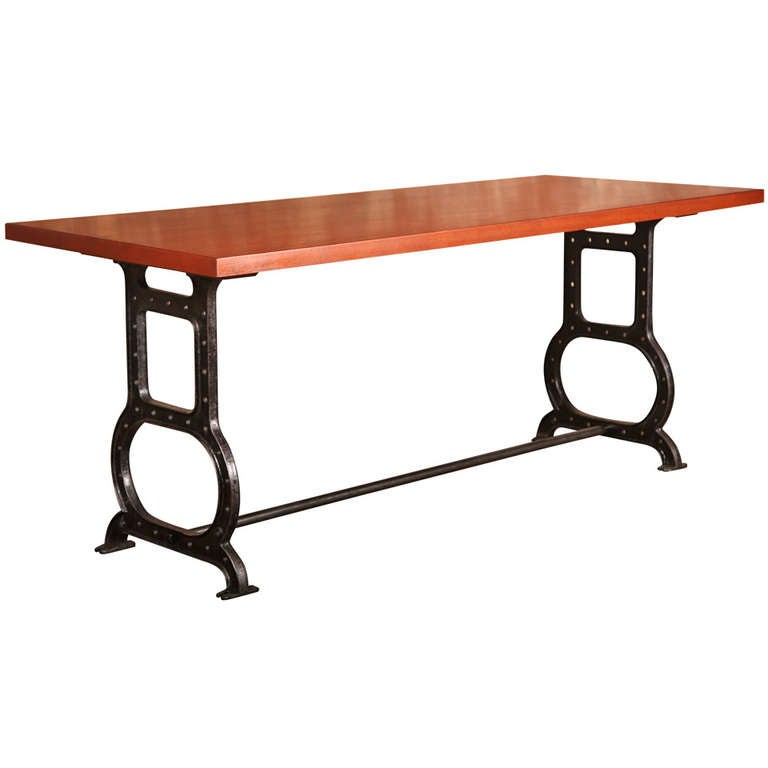 Mahogany table with cast iron legs for sale at 1stdibs for Cast iron table legs for sale