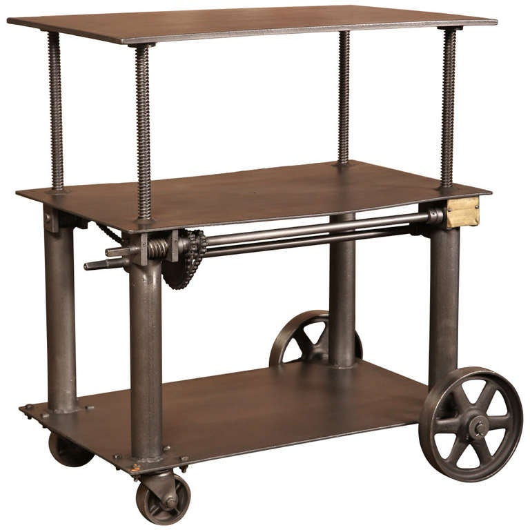 Vintage industrial adjustable table die lift cart at for Lift furniture to second floor