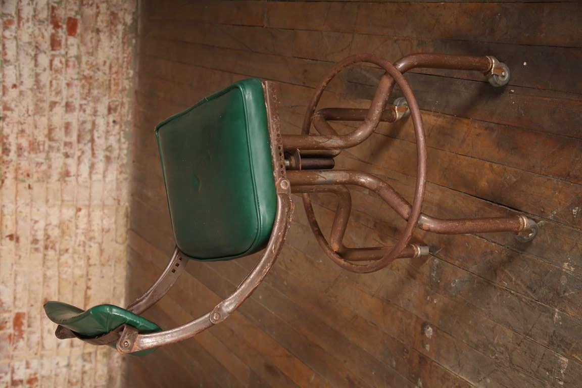 Vintage Industrial Adjustable Back Green Bar Stool At 1stdibs