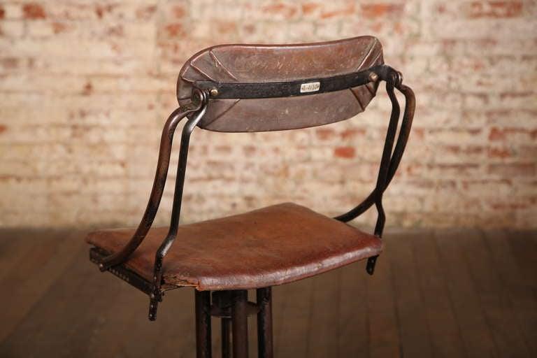 Vintage Industrial Adjustable Back Bar Stool At 1stdibs