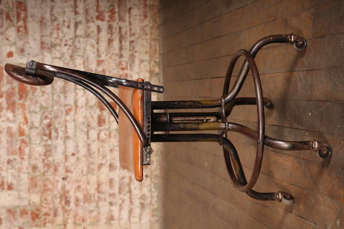 Vintage Industrial Adjustable Back Stool At 1stdibs