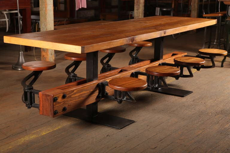Dining Table Vintage Industrial Cast Iron Steel and Wood Swing