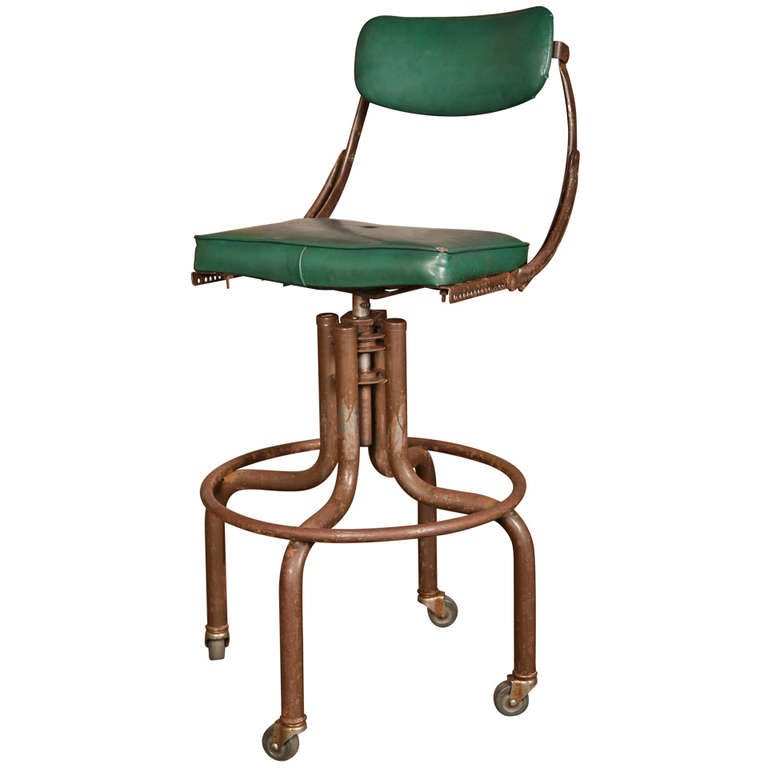 Vintage Industrial Adjustable Back Green Bar Stool At 1stdibs