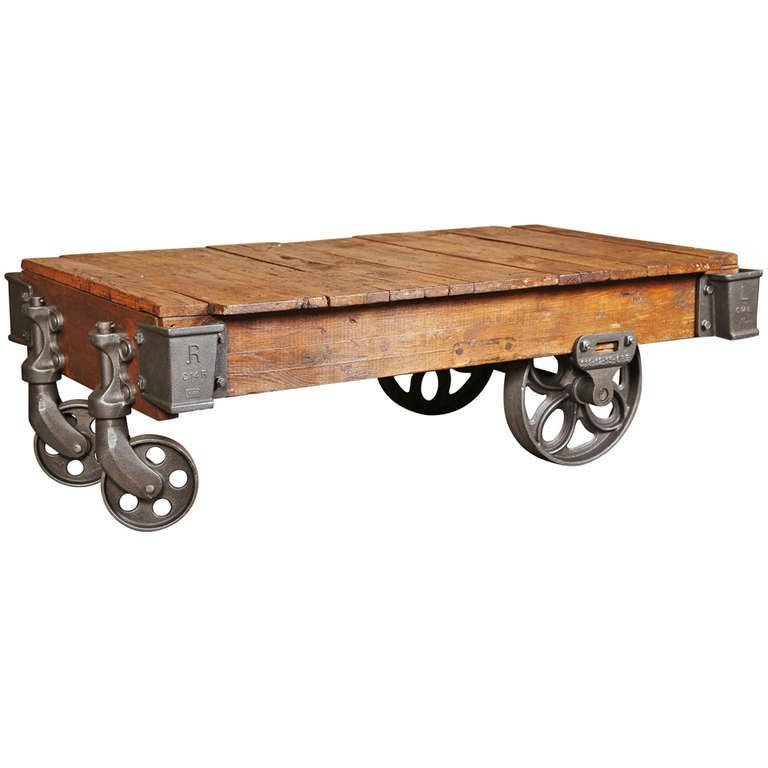 Vintage industrial lineberry cart coffee table at 1stdibs Antique wheels for coffee table