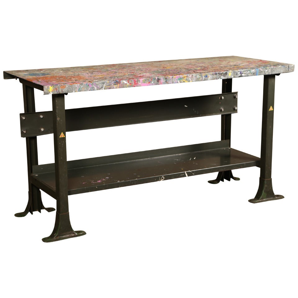 Vintage industrial metal work table or workbench at 1stdibs for Furniture work table