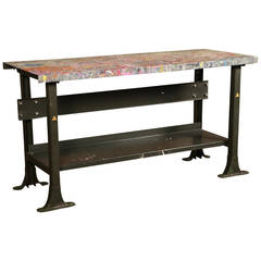 Rustic Artist's Table Vintage Industrial Metal Worn Painted Workbench or Desk