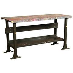 Vintage Industrial Made In America Free Form Walnut Desk