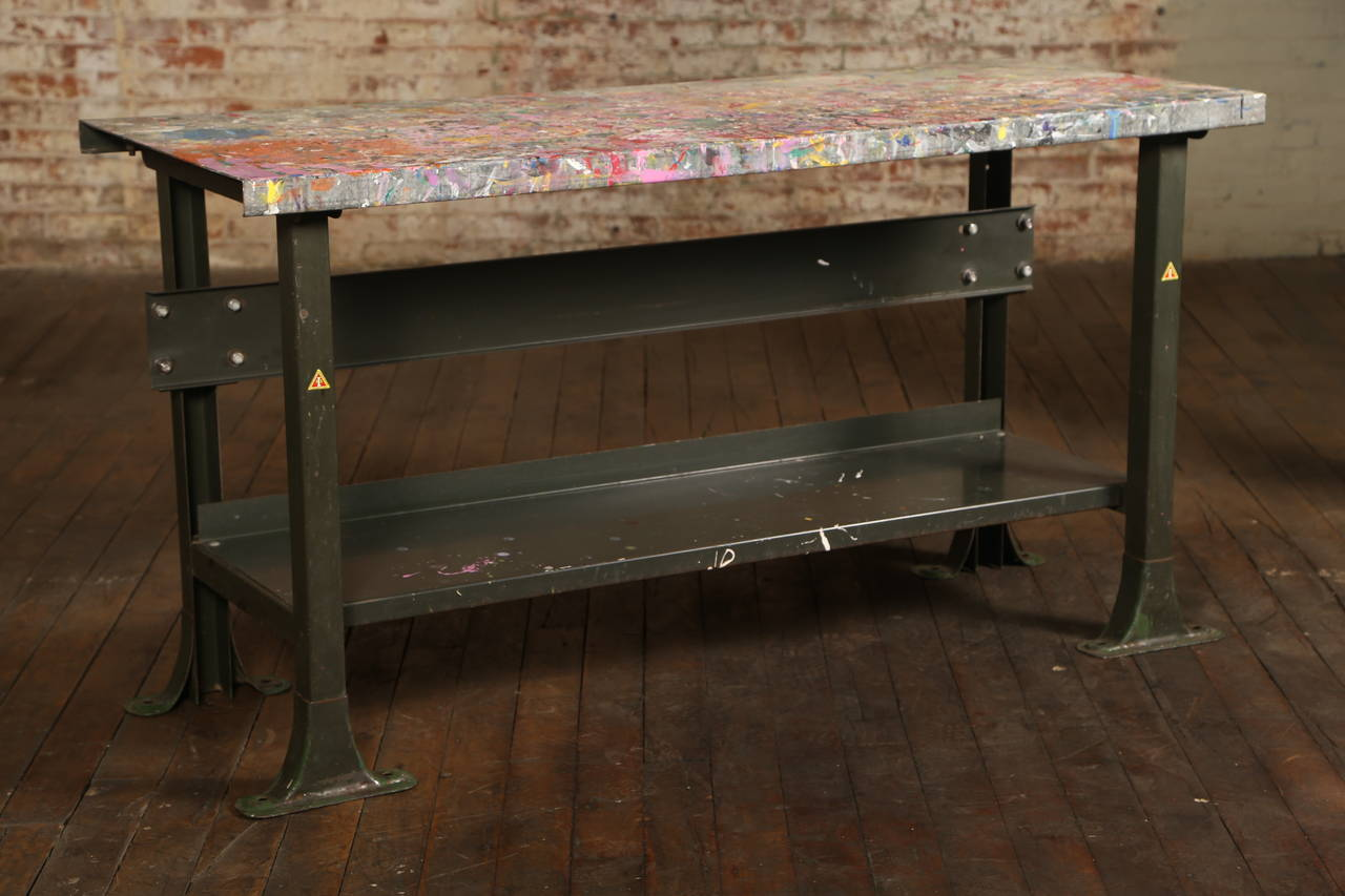 Rustic Artist 39 S Table Or Desk Vintage Industrial Metal Worn Painted Workbench At 1stdibs