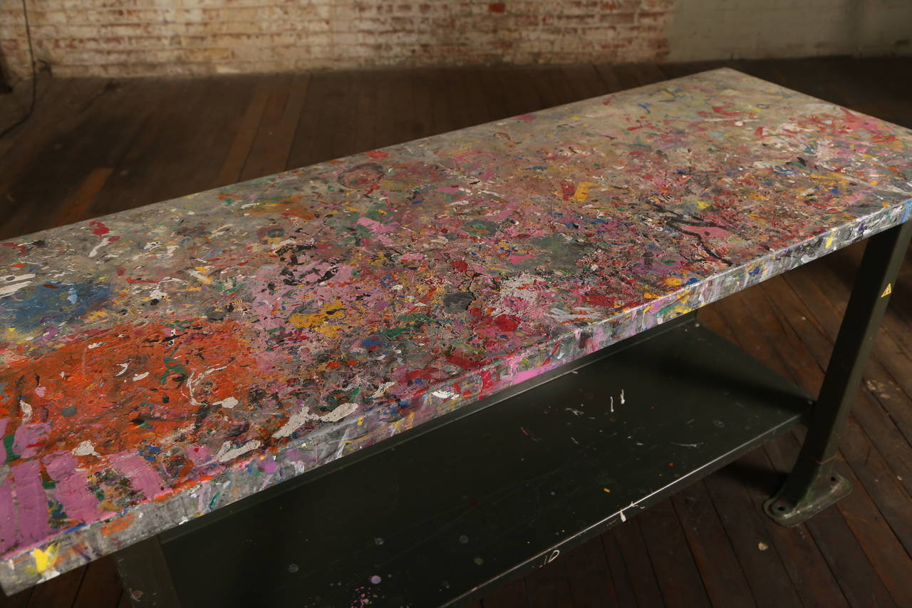 20th Century Rustic Artist's Table or Desk Vintage Industrial Metal Worn Painted Workbench For Sale