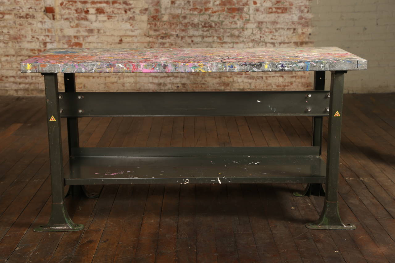 Rustic Artist's Table or Desk Vintage Industrial Metal Worn Painted Workbench In Distressed Condition For Sale In Oakville, CT