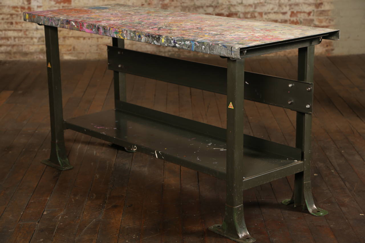 American Rustic Artistu0027s Table Or Desk Vintage Industrial Metal Worn  Painted Workbench For Sale