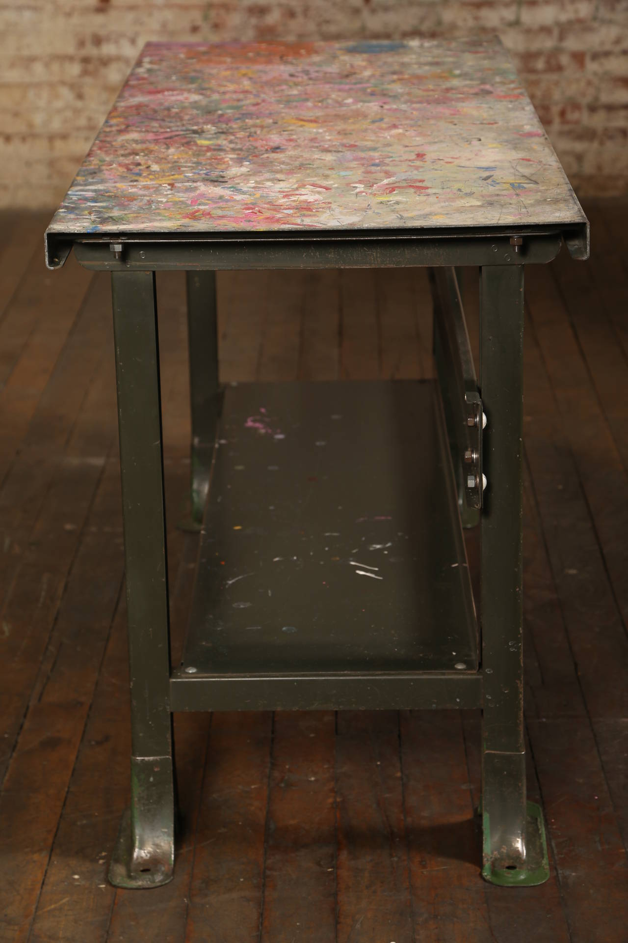 Rustic Artist's Table or Desk Vintage Industrial Metal Worn Painted Workbench For Sale 4