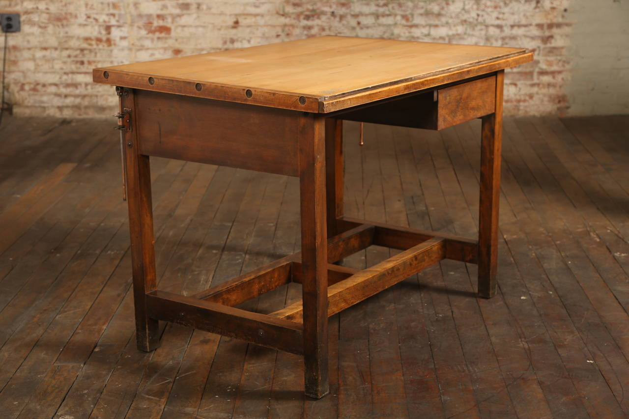 Vintage Industrial Drafting Table Or Desk With Drawer At