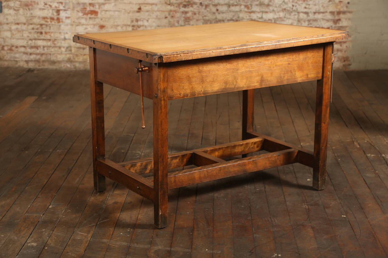 Vintage Drafting Table Or Desk With Drawer In Good Condition For Oakville