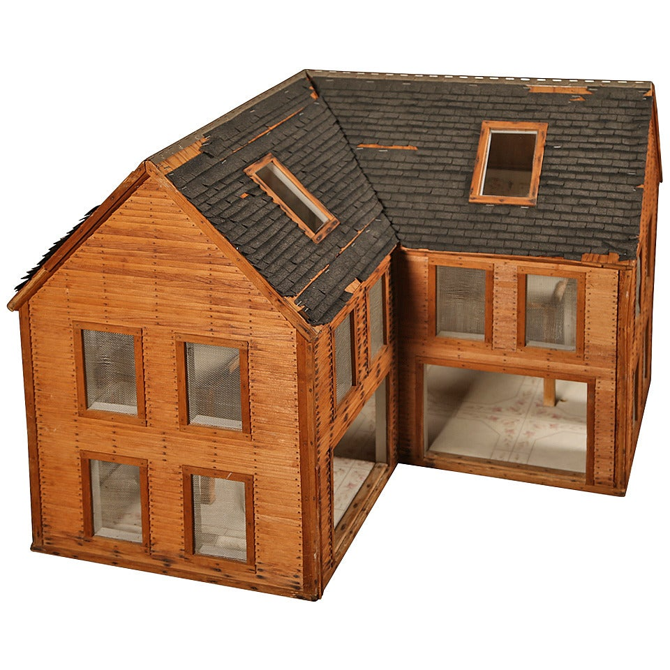 Vintage Wooden Doll House Wood Architectural Model For