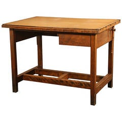 Vintage Industrial Drafting Table or Desk with Drawer