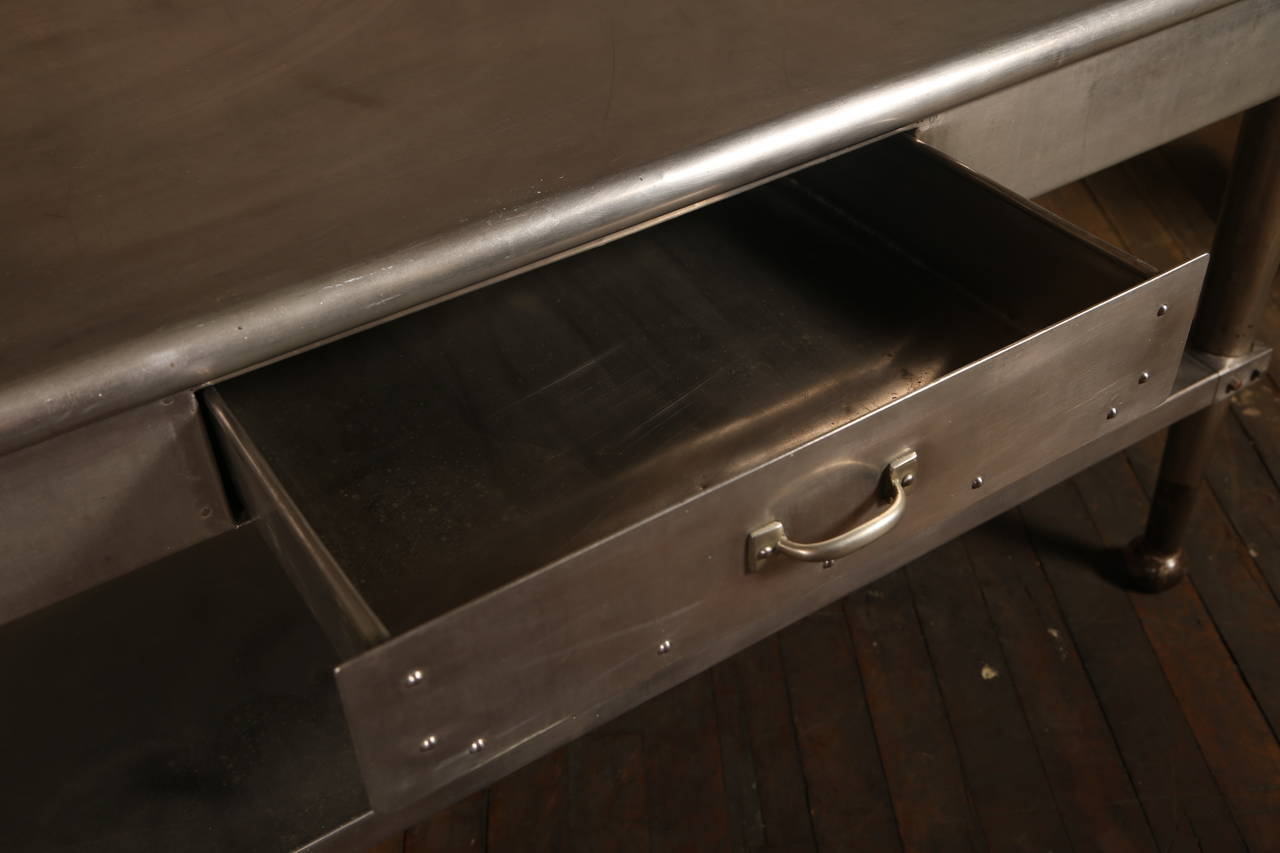 Vintage Stainless Steel Kitchen Table 2