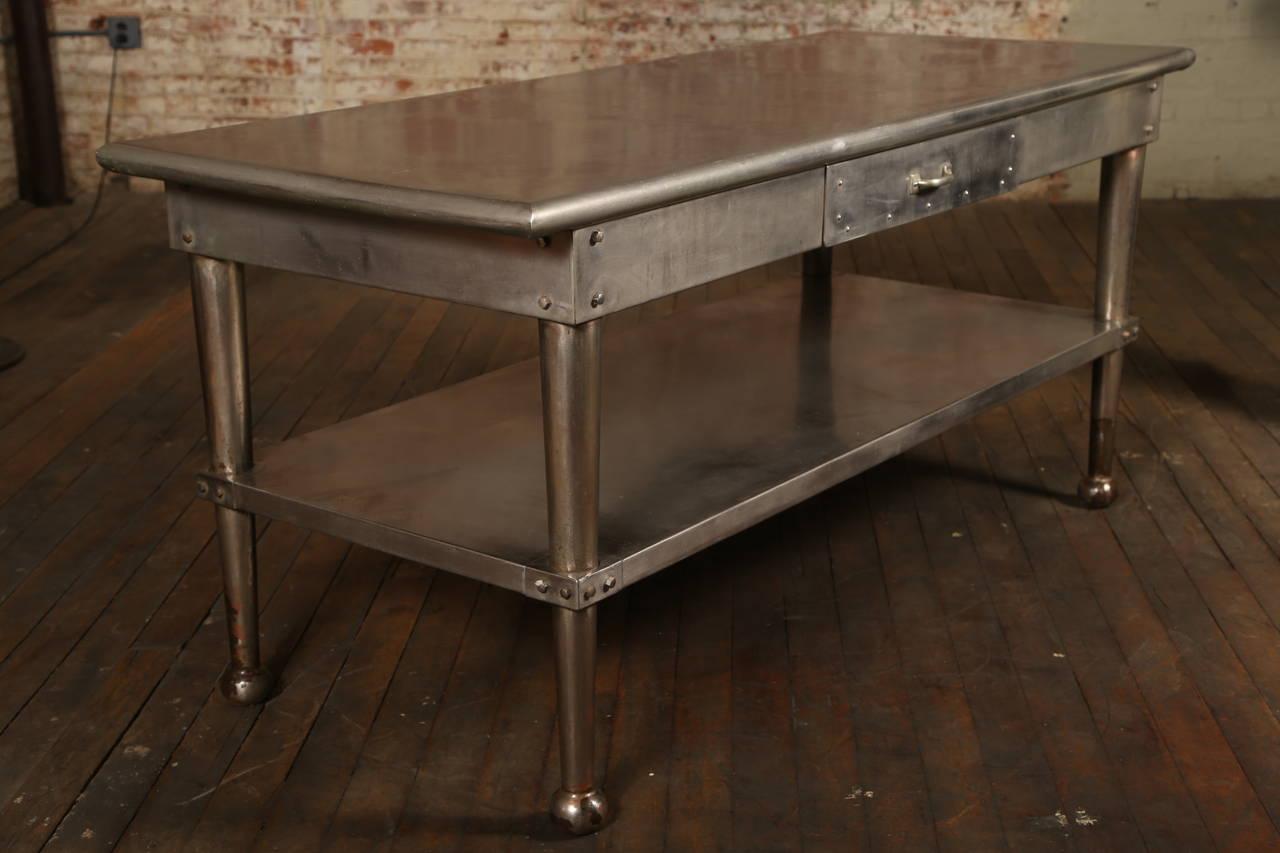 Vintage Stainless Steel Kitchen Table At 1stdibs