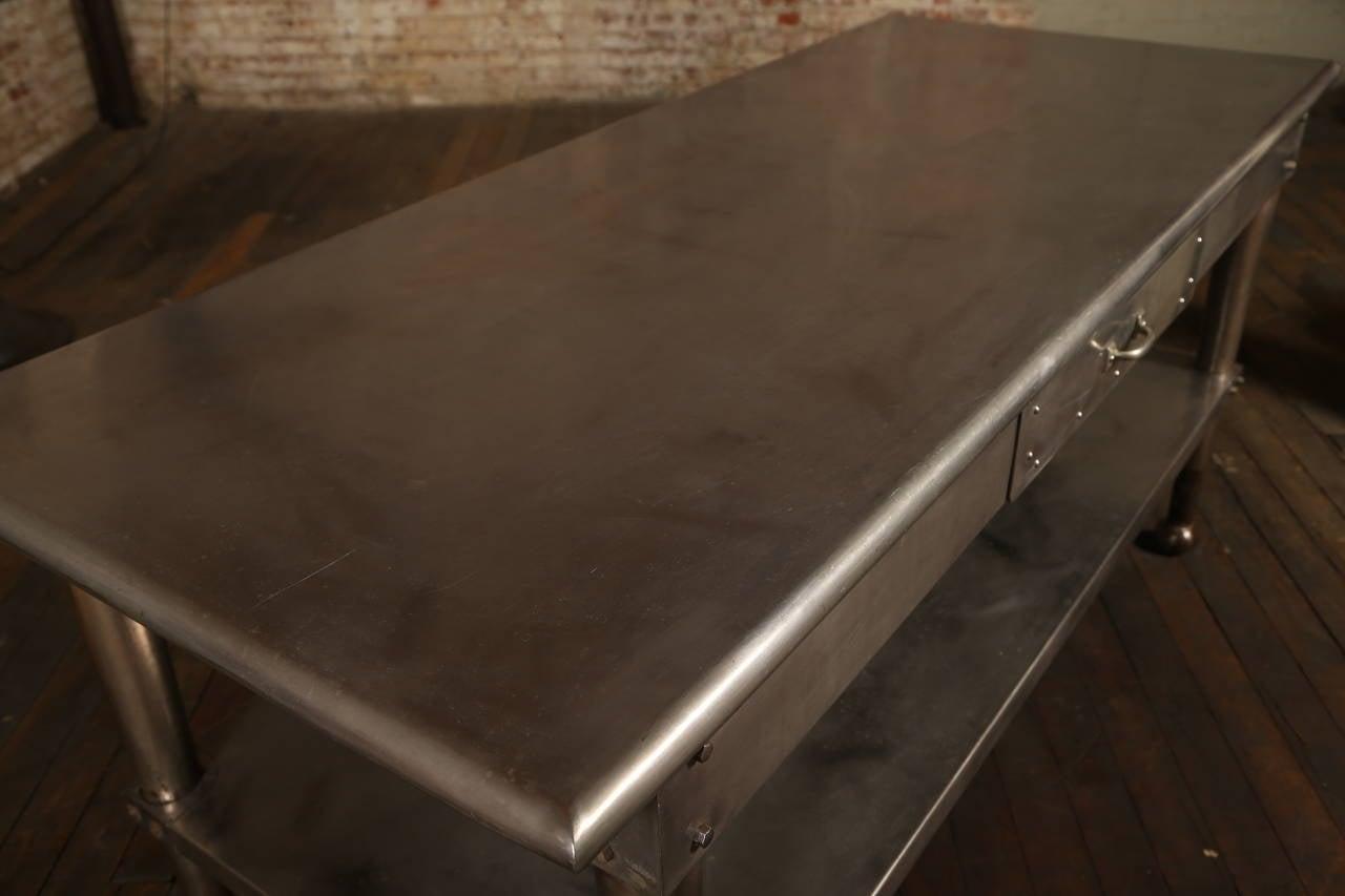 20th Century Vintage Stainless Steel Kitchen Table