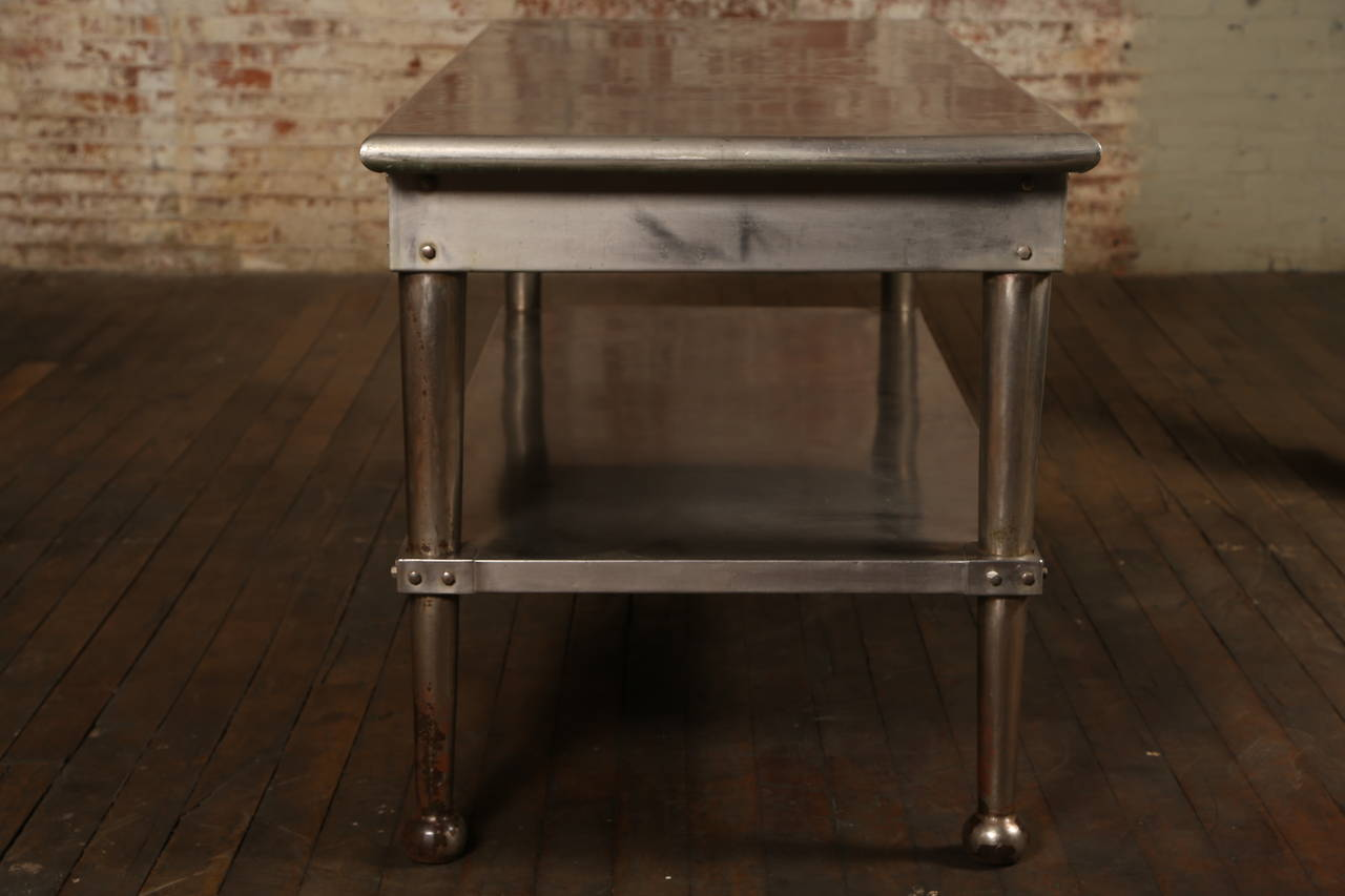 Vintage Stainless Steel Kitchen Table At 1stdibs
