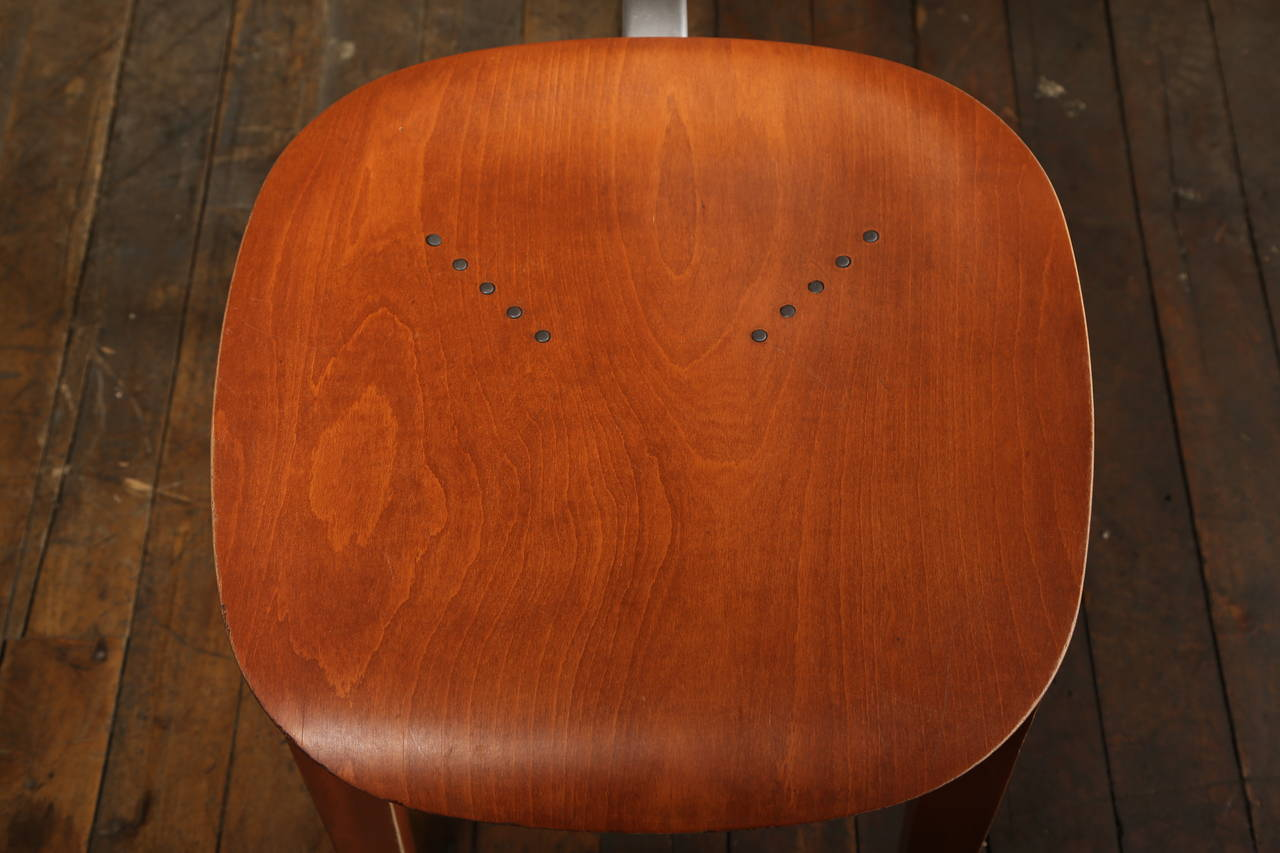 Metal Dining Chair, Mid Century Modern, Piretti Xylon Bent Plywood Seat For Sale