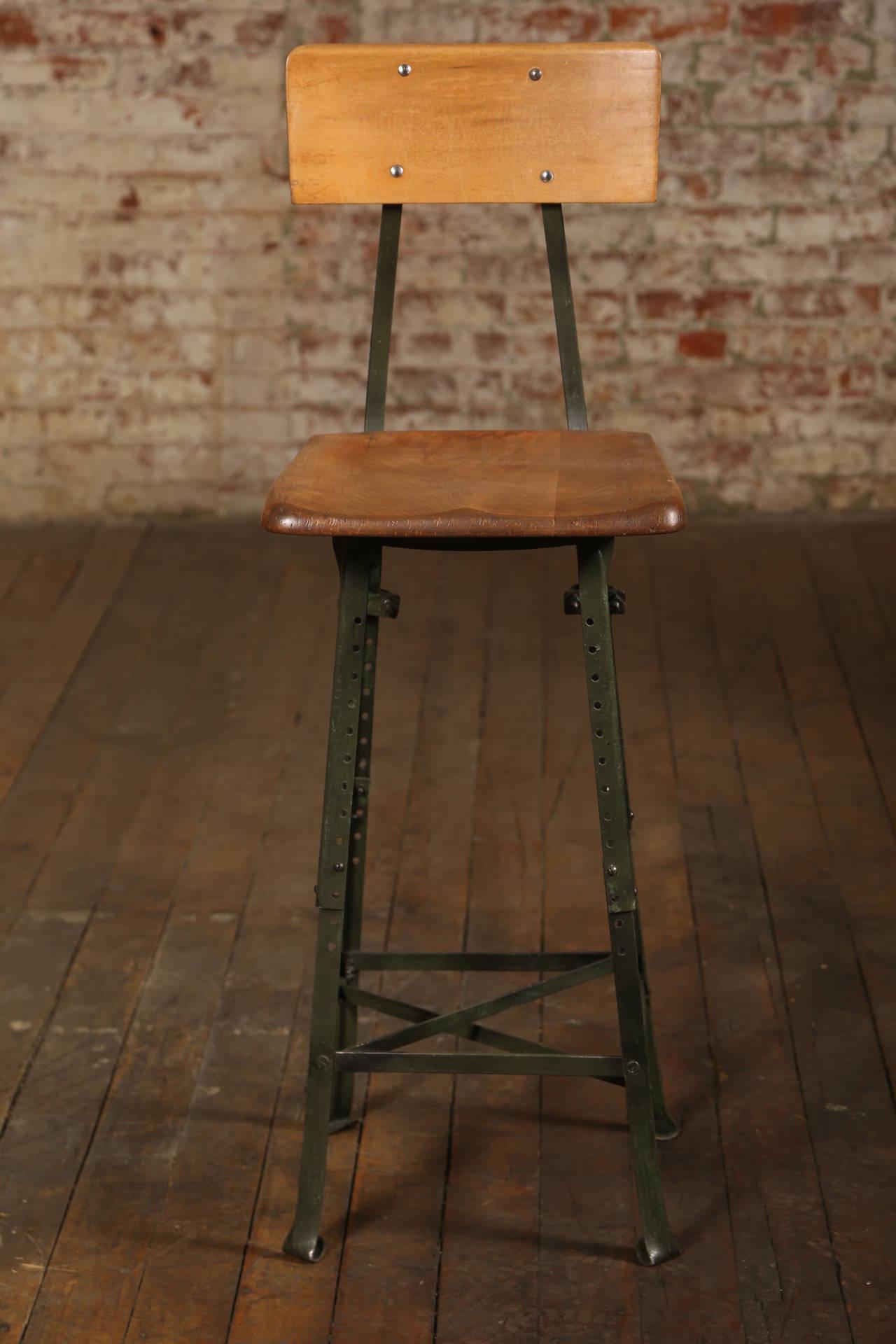 Vintage Industrial Adjustable Wood Metal Frame Stool At