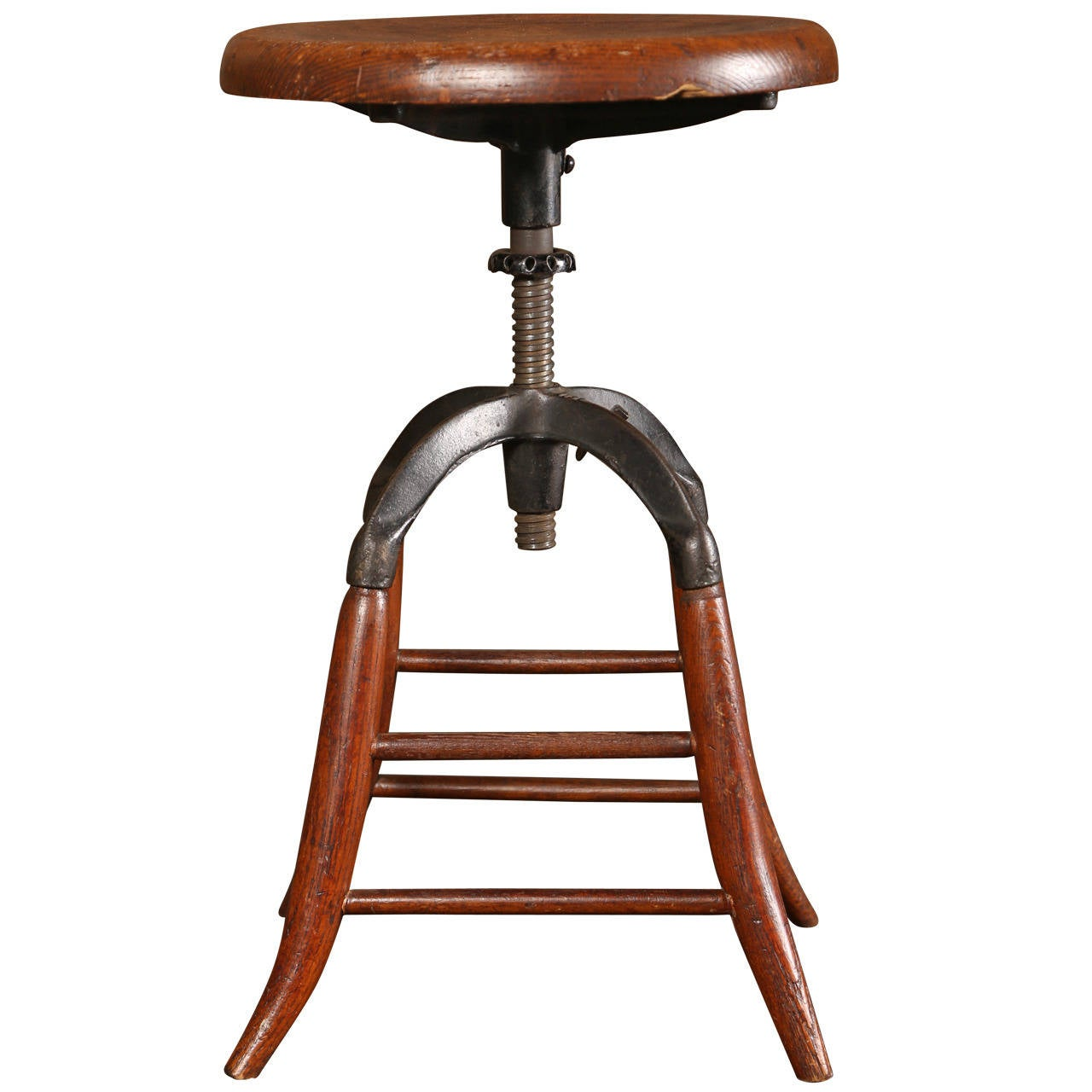 Vintage Industrial Adjustable Oak Stool At 1stdibs