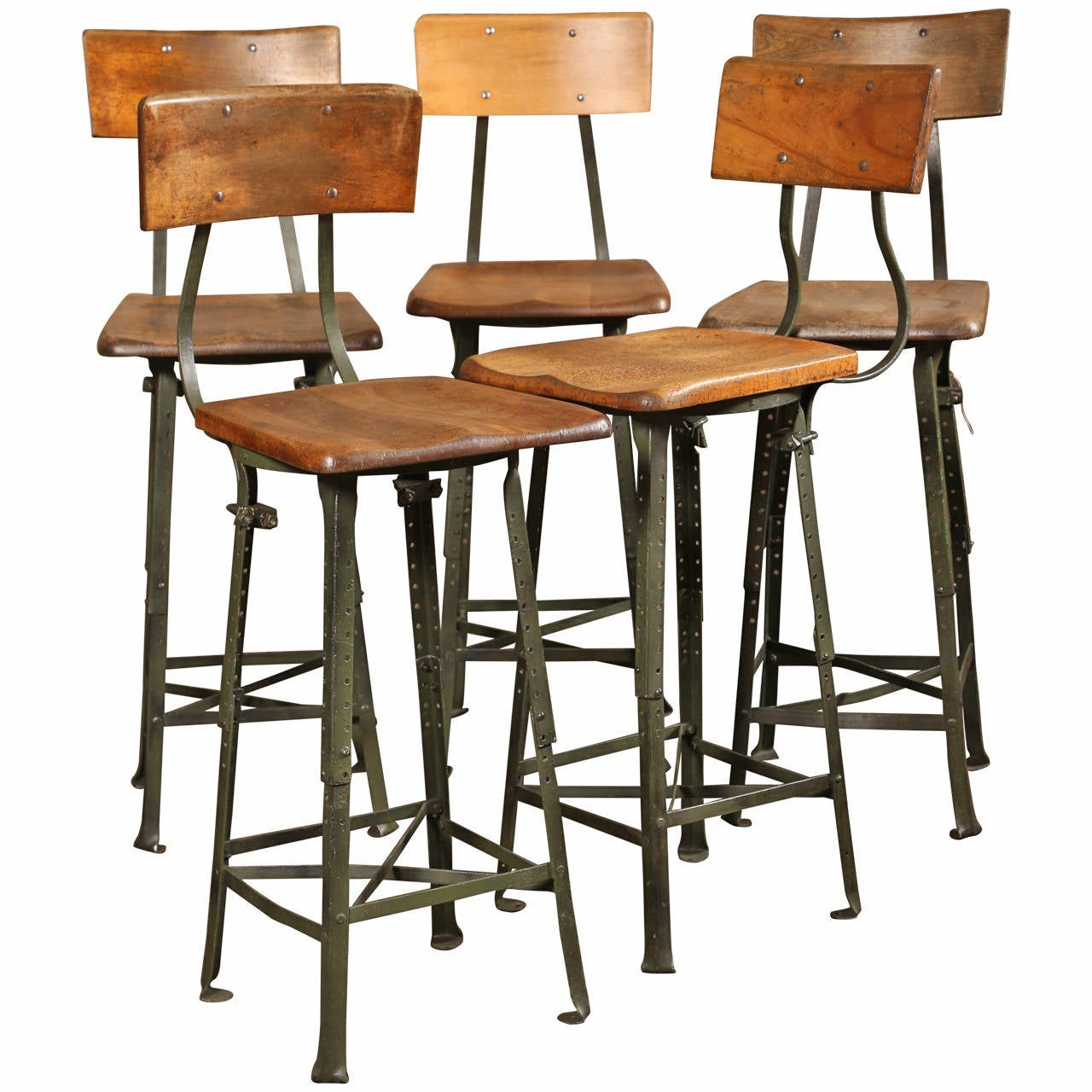 Vintage Industrial Adjustable Wood Metal Frame Stool At