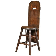 Vintage Industrial Factory Wooden Wood Unique Oak Shop Stool, Chair Pine Back