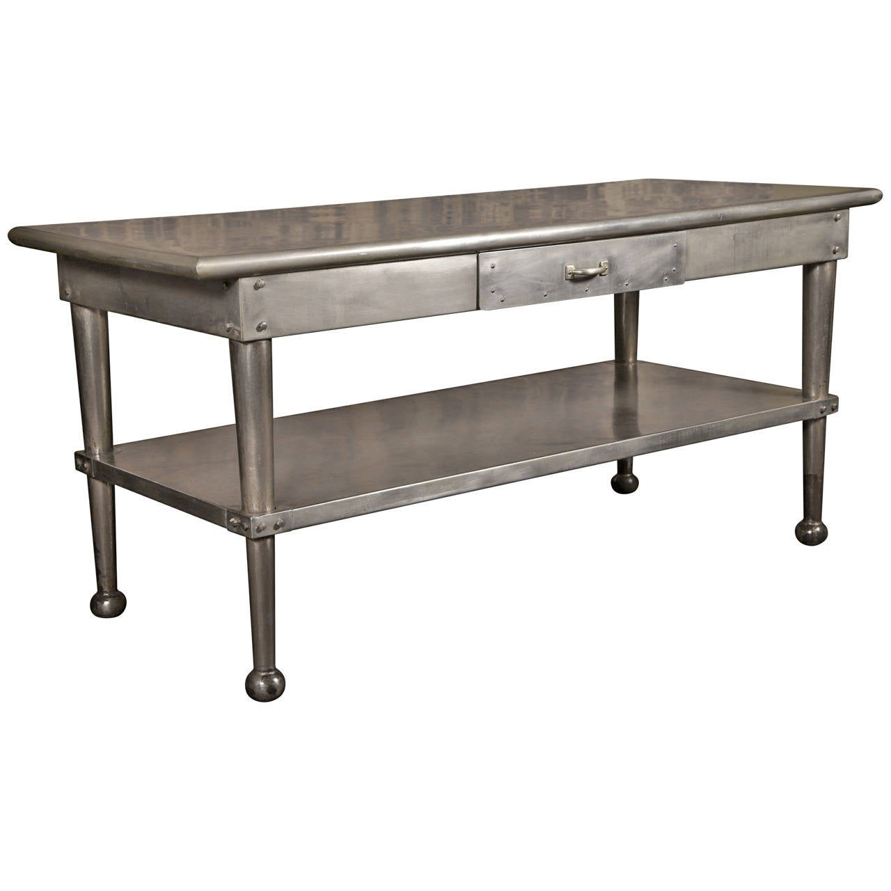 Vintage stainless steel kitchen table at 1stdibs - Stainless kitchen tables ...
