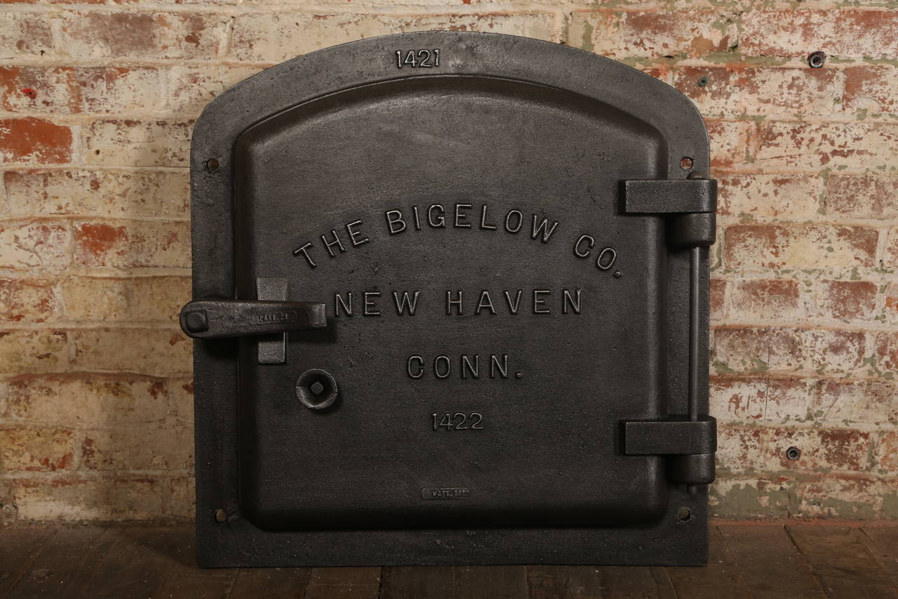 Vintage Industrial Doors : Steampunk antique industrial cast iron bigelow boiler door