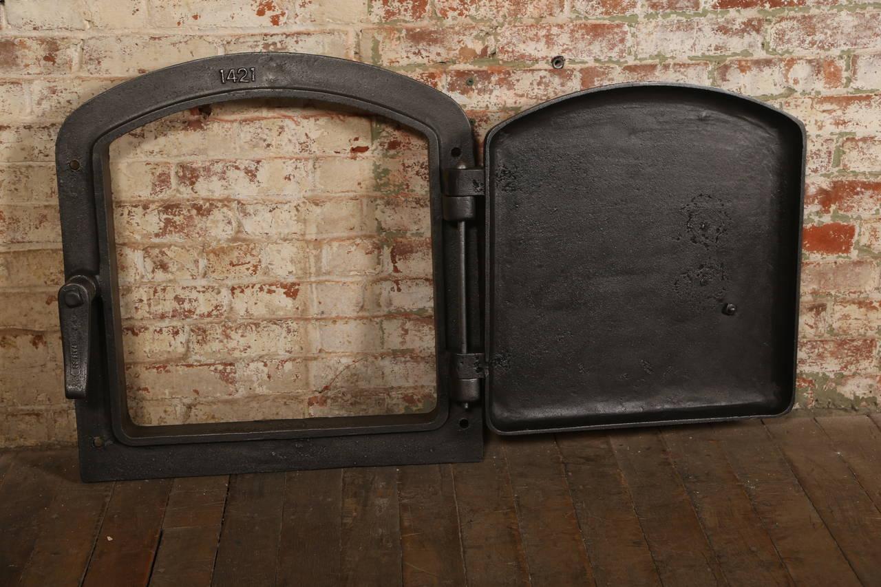 Vintage Industrial Fire Doors For Sale : Steampunk antique industrial cast iron bigelow boiler door