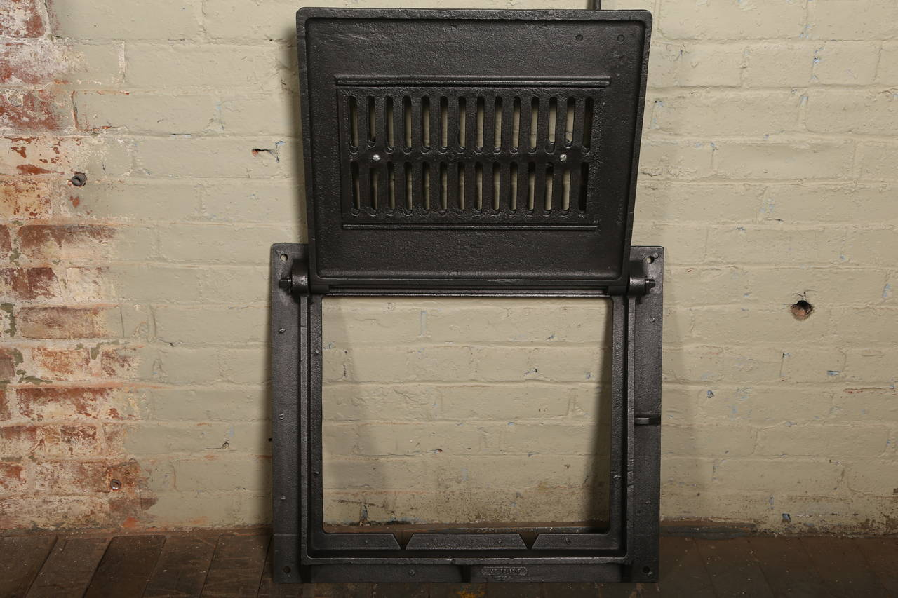 Vintage Industrial Doors : Cast iron vintage industrial factory furnace door