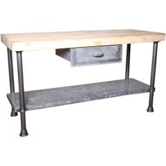 Vintage Industrial Butcher Block Work Table